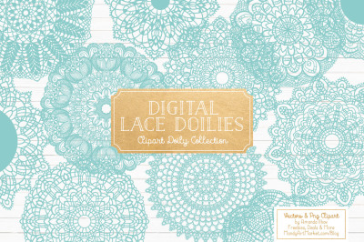 Anna Lace Round Doilies in Aqua