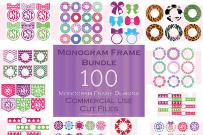 100 Circle Monogram Frame Bundle - SVG, PNG, DXF, EPS cutting files.