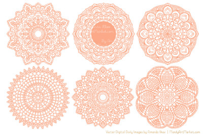 Peach Vector Lace Doilies