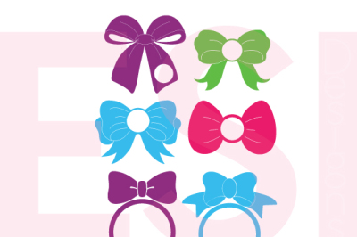 Bow Designs with circle for a monogram - SVG, DXF, EPS - Cutting Files