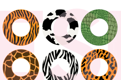 Animal Print Circle Monogram Frames - SVG, DXF, EPS - Cutting files