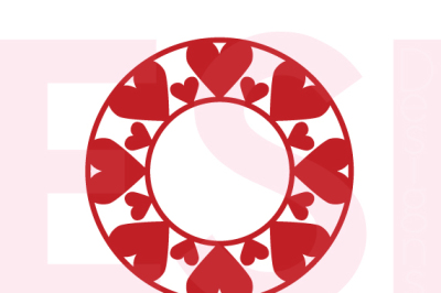 Heart Circle Monogram Frame, Valentines, Weddings. - SVG, DXF, EPS cutting files