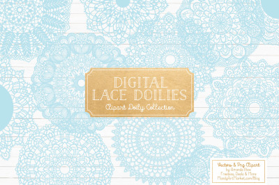 Anna Lace Round Doilies in Soft Blue