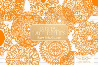 Orange Vector Lace Doilies