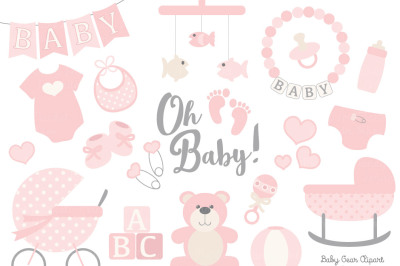 Soft Pink Vector Baby Items
