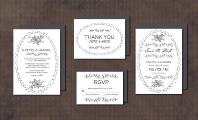 Wedding Invitation Suite Doodle Frame