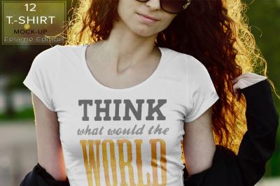 12 T-shirt Mock Up Female Edition