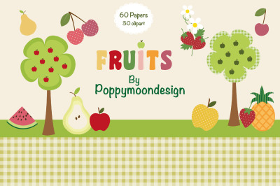 Fruits paper and clipart set