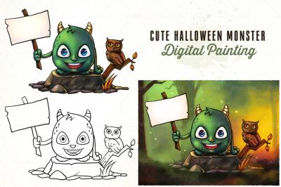 Cute Halloween Monster Holding Sign
