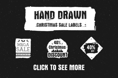 Hand Drawn Christmas Sale Labels