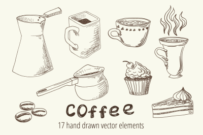 Vector Coffee Sketches & Patterns