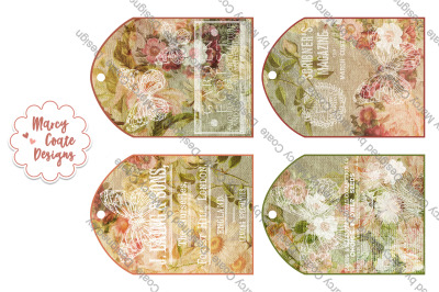 Printable Tags set of 4 Cottage Chic Vintage Collage