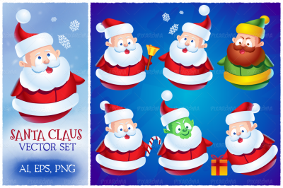 Cute Cartoon Santa Claus Set