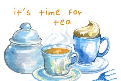 Watercolor clipart set, Tea time