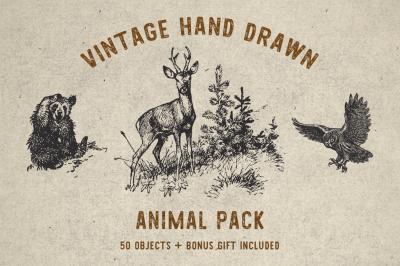 Vintage Animal Pack + Bonus Font