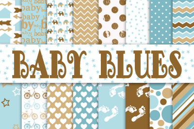 Baby Boy Digital Paper in Blues and Browns