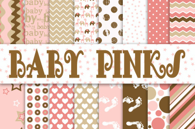 Baby Girl Digital Paper in Pinks and Browns