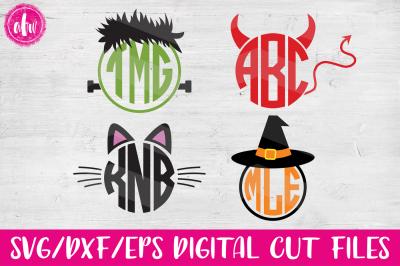 Halloween Monogram Frames - SVG, DXF, EPS Cut Files