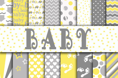 Baby Digital Paper in Grays and Yellow
