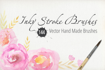50% SALE 144 Vector Inky Brushes