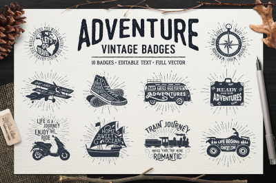 ADVENTURE VINTAGE BADGES (part 1)