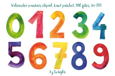 Numbers, watercolor clipart, colorful letters, hand painted, 123, font, typo,