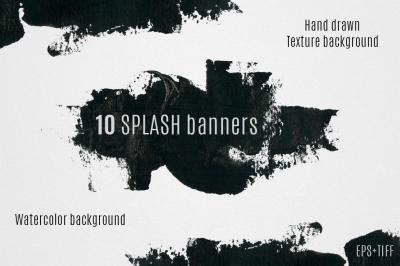 10 watercolor splash banners set
