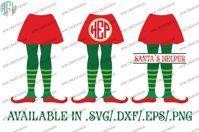Girl Elf Legs SPlit & Monogram - SVG, DXF, EPS Cut Files
