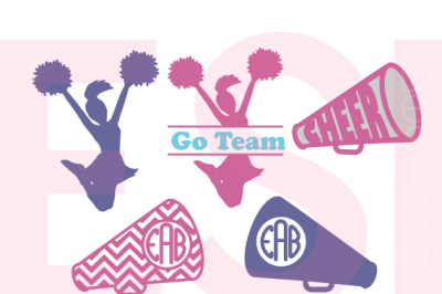 Cheerleader Monogram Designs Set - SVG, DXF, EPS - Cutting Files