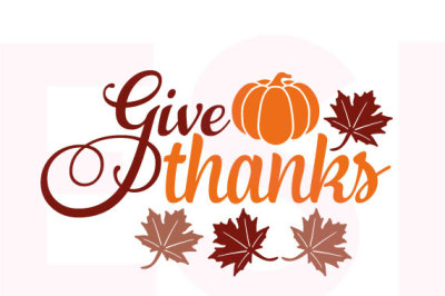 Give Thanks Quote with Pumpkin and Leaves