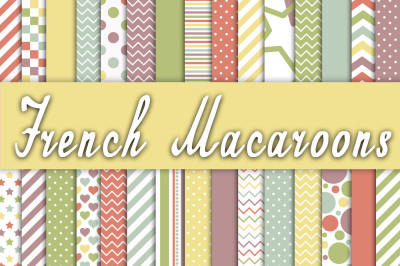 French Macaroons Digital Paper