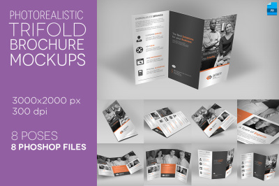 Photo Realistic Trifold Mockups
