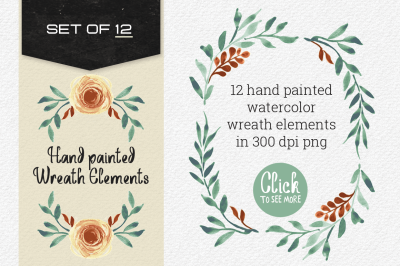 Hand painted Wreath Elements