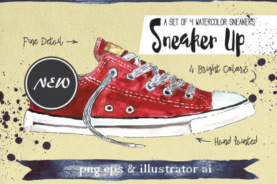 Set of 4 Watercolor Sneakers + Bonus