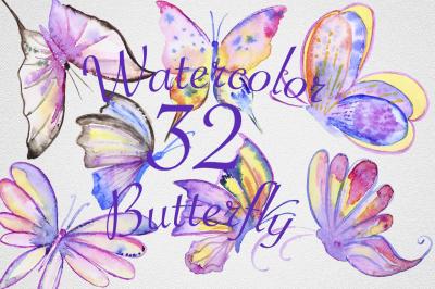 Watercolor Butterfly Set #2