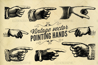 Vintage vector pointing hands