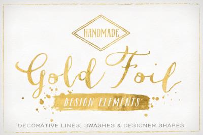 Gold Foil Design Elements & Vector Bonus