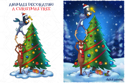 Animals Decorating a Christmas Tree - Digital Painting