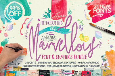 Marvellous Font and Graphics Bundle by Creativeqube 93% OFF