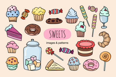 Hand drawn sweets & sweet patterns