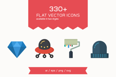 330 Flat Vector Icons