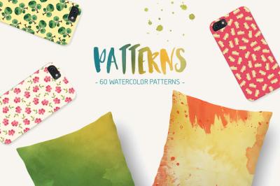 60 Seamless Watercolor Patterns