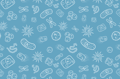 A lot of bacterias and viruses under microscope, seamless pattern