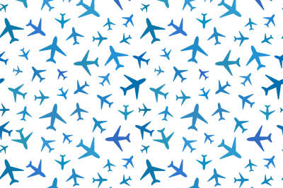 Blue planes icons on white, seamless pattern