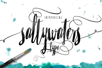 Saltywaters Type font - Script typeface with swashes and stylistic alternates