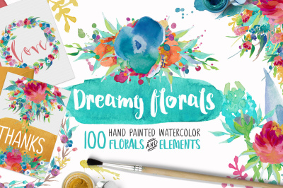 Dreamy Florals Watercolor Clipart Bundle