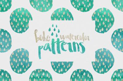 Digital paper, Boho Watercolor Patterns - 16 digital pattern backgrounds