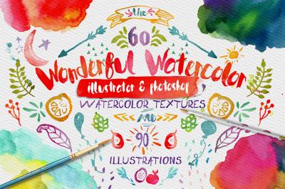 Wonderful Watercolor Digital Graphic Design Kit