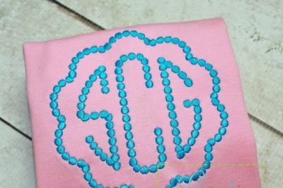 Natural Circle Beaded Dot Monogram Embroidery Alphabet Font