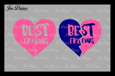 Best Friend Split Heart SVG DXF EPS PNG